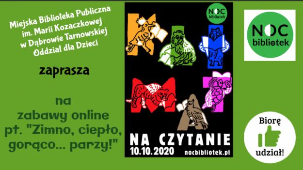 """Plakat, na którym umieszczono nazwę biblioteki, zaproszenie, oficjalny plakat i logo """"Nocy Bibliotek"""" 2020"""