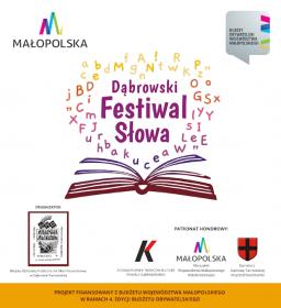 Plakat promujący projekt Dąbrowski Festiwal Słowa w ramach 4. edycji Budżetu Obywatelskiego Województwa Małopolskiego