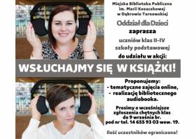 """Plakat promujący akcję biblioteczną o audiobookach """"Wsłuchajmy się w książki"""""""